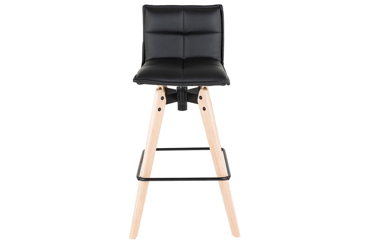 Chaise de bar noire toile imitation cuir Mae