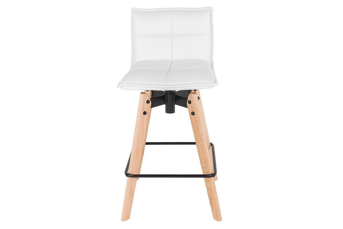 Chaise snack blanche en tissu piétement plaqué chêne Mae
