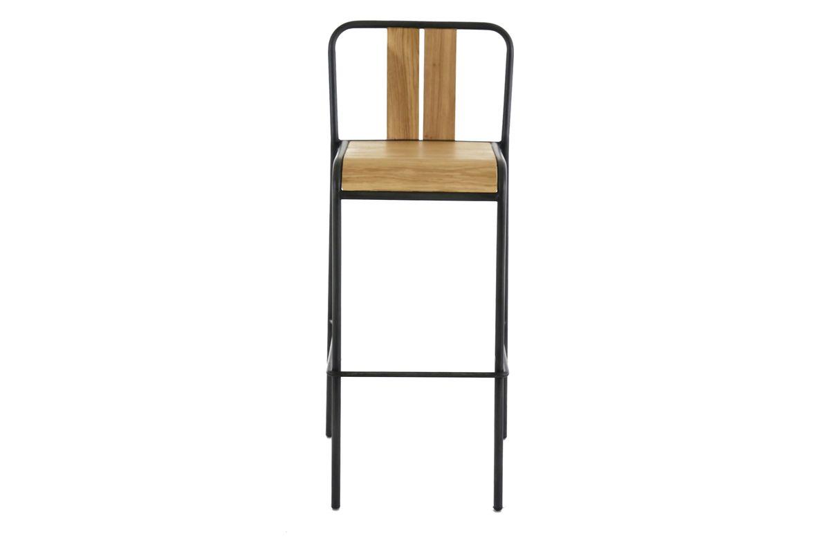 Chaise de bar chêne et métal noir brossé style contemporain
