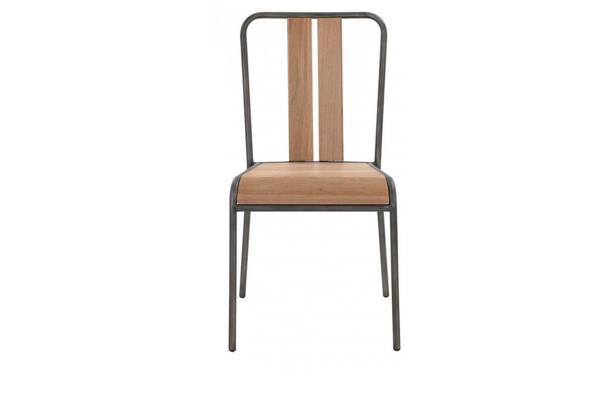 Chaise chêne et métal brossé Boston (lot de 4)