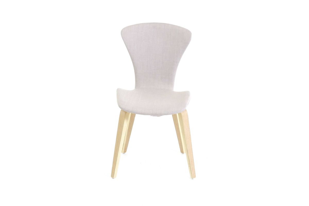 Chaise en tissu beige piétement plaqué chêne Manie