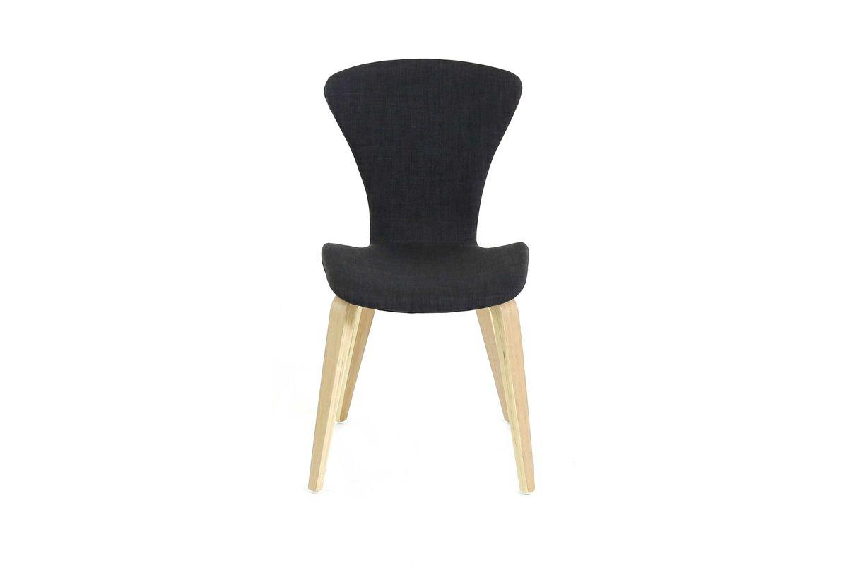 Chaise en tissu gris foncé piétement plaqué chêne Manie