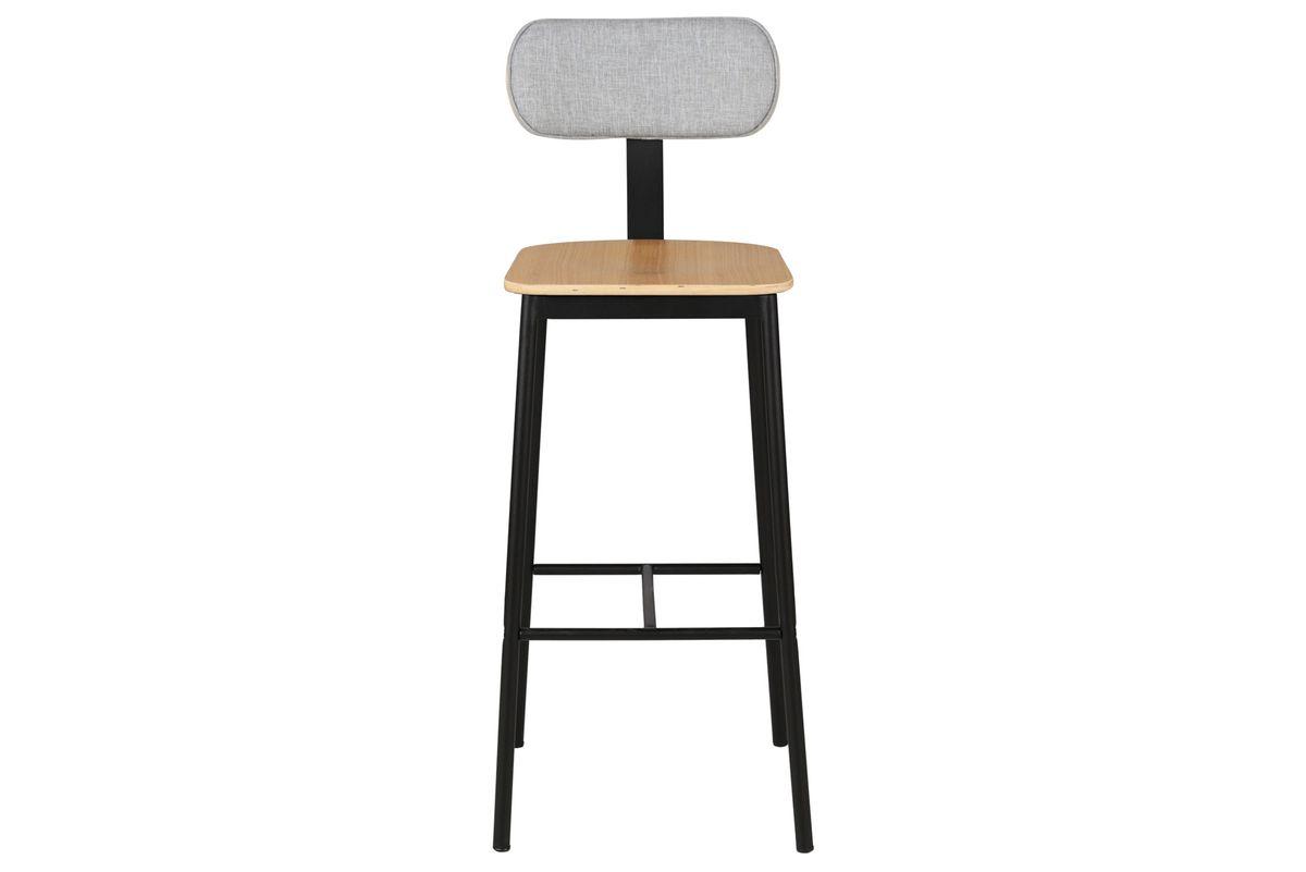 Chaise de bar plaqué chêne et tissu gris Mara