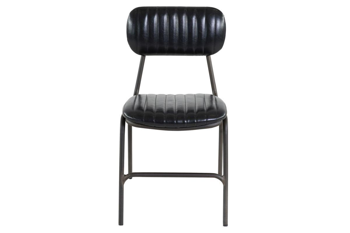 Chaise similicuir noir et métal brut Marius