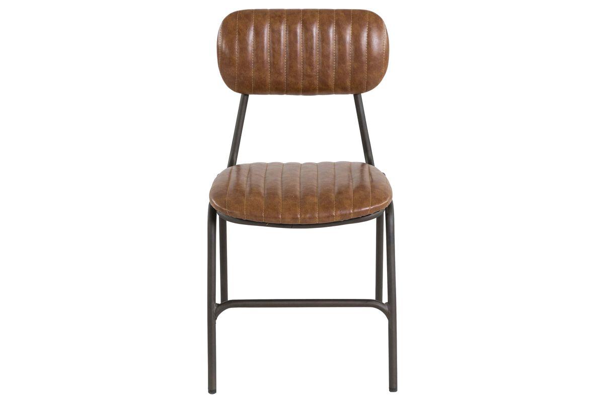 Chaise vintage imitation cuir camel et métal Marius