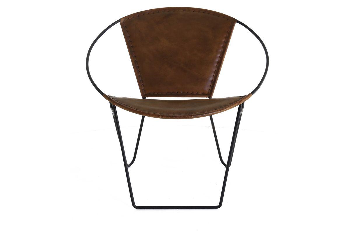 Fauteuil cuir et métal marron Montecristo