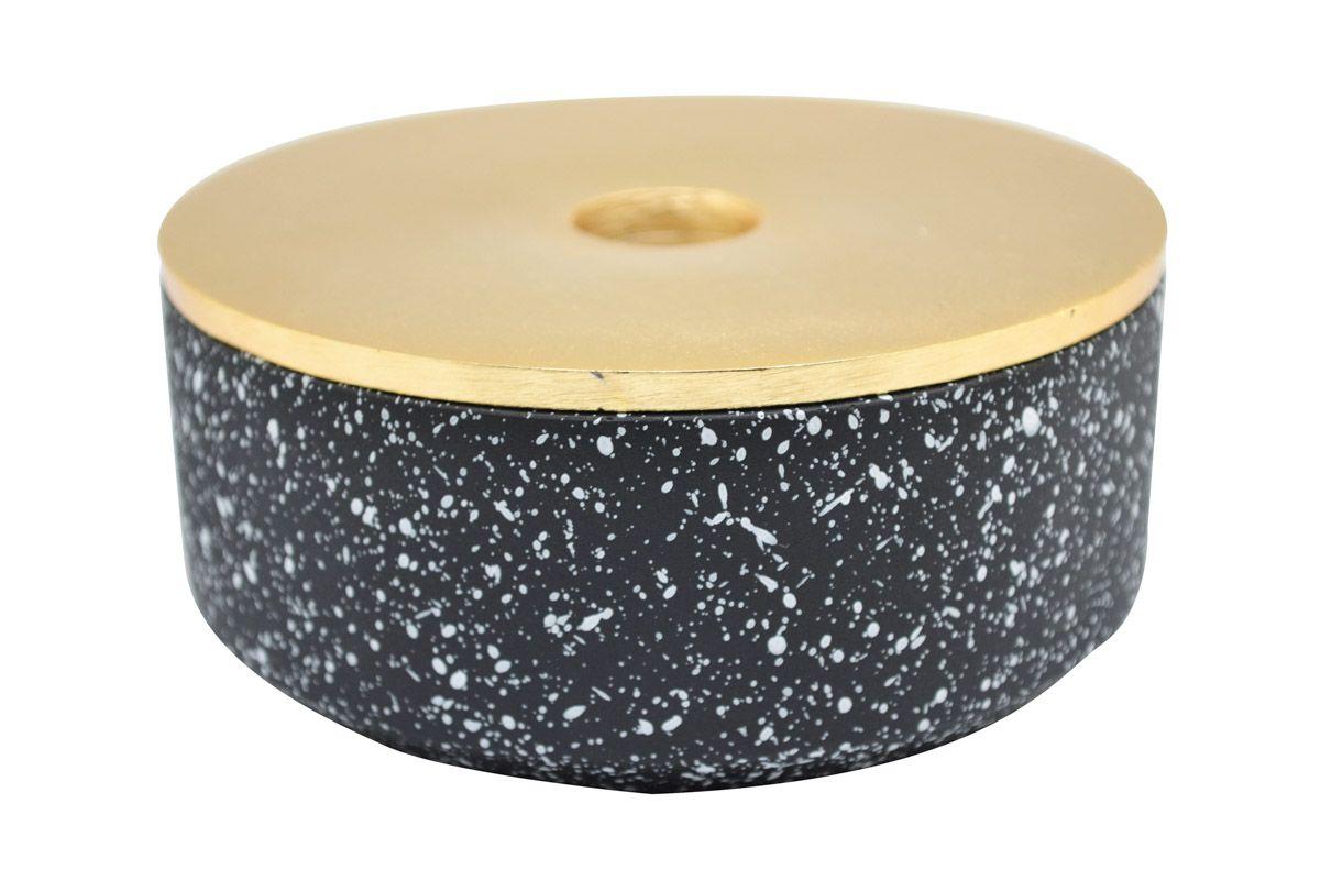 Boite décorative en béton noir et or Box