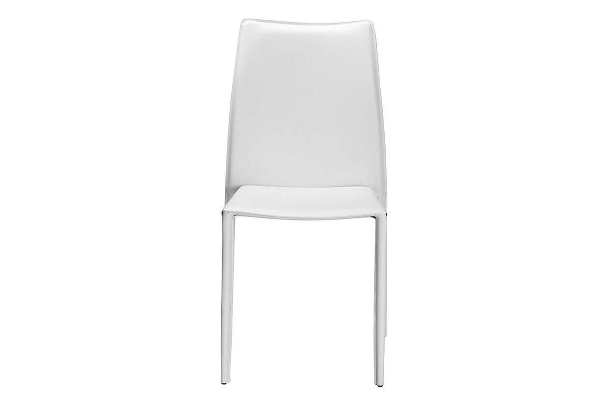 Chaise de repas cuir blanche Solène