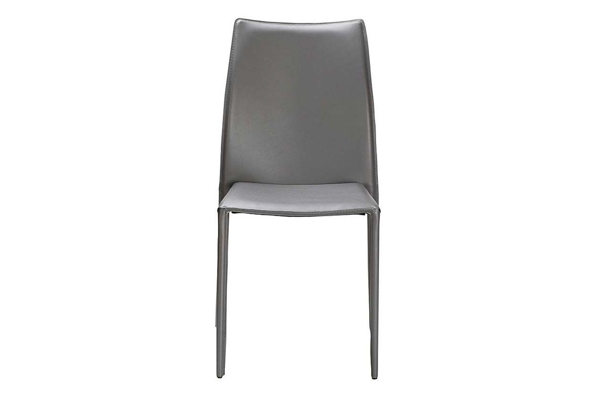 Chaise de repas en synderme grise Solène (lot de 2)