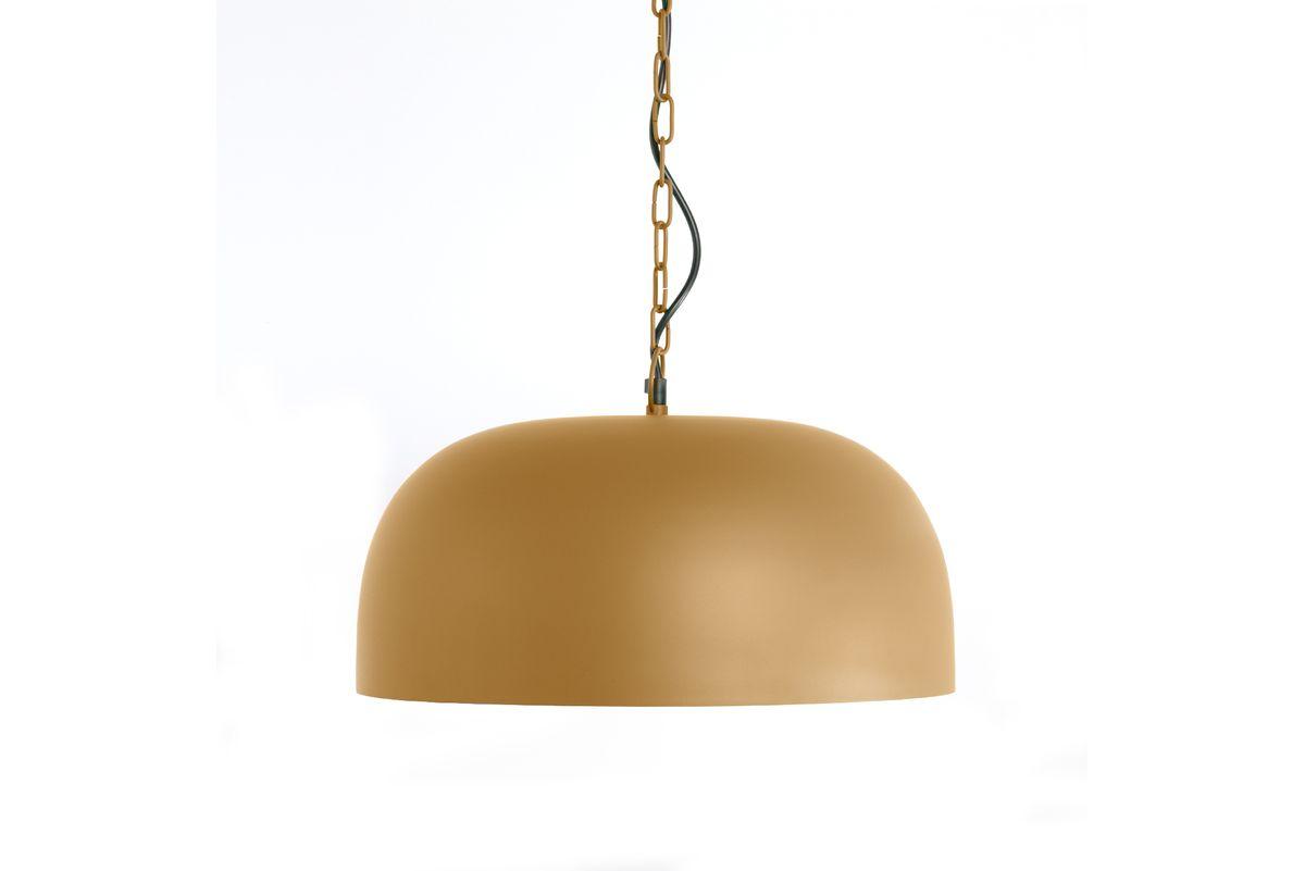 Suspension style industriel métal jaune moutarde Dune