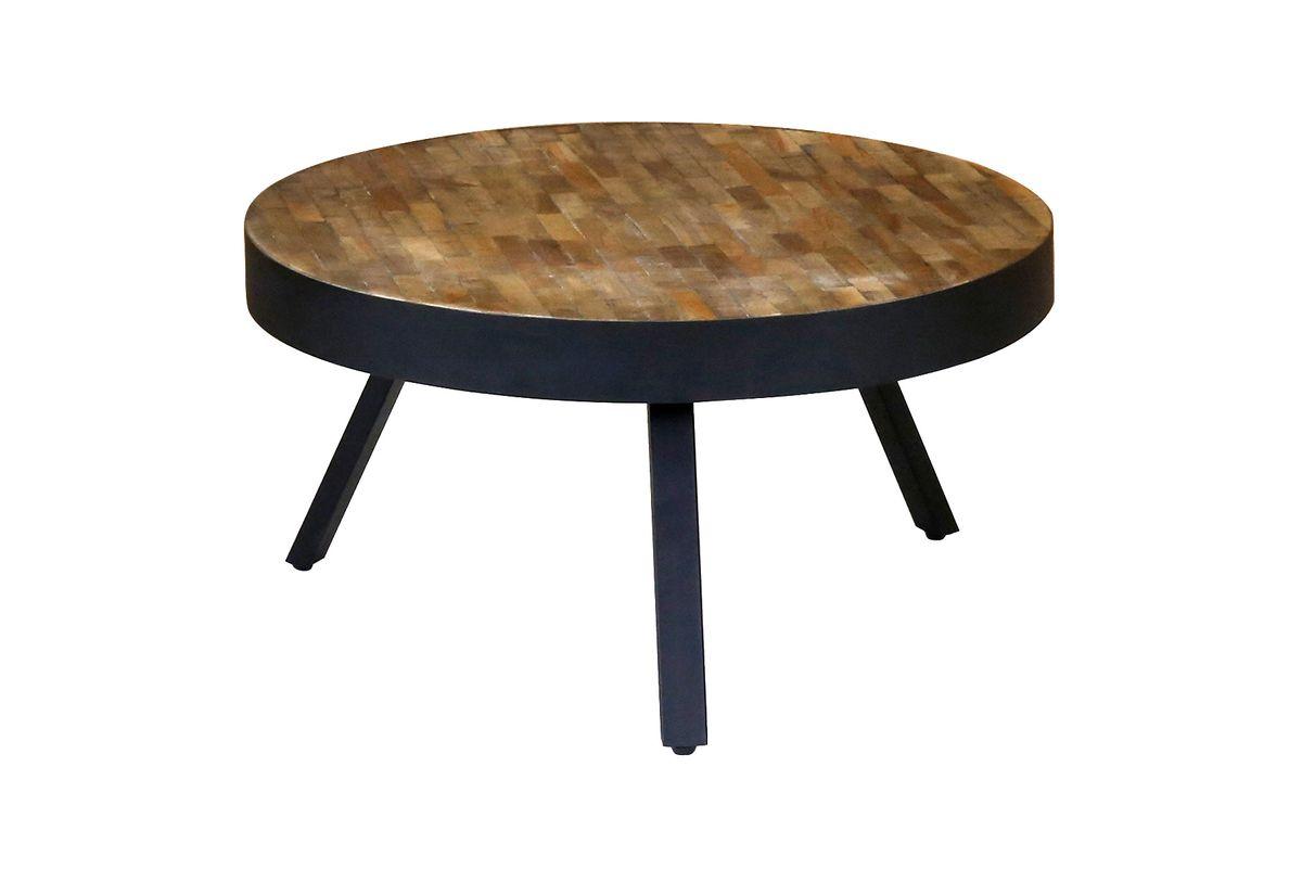 Table basse teck recyclé et métal ronde Ø76 cm Woody