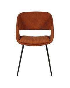 Chaise de repas en velours côtelé cognac pieds métal Ada
