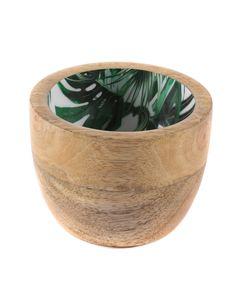 Bol décoratif motifs jungle en bois de manguier Ø 9.5 cm Aloha