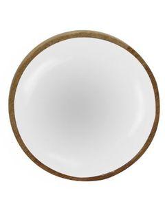 Plat décoratif rond blanc en bois de manguier Ø 15 cm Aloha