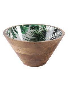 Saladier conique décoratif motifs jungle en bois de manguier Ø 25 cm Aloha