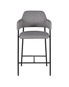 Chaise accoudoirs plan de travail tissu gris foncé structure métal noir h65 cm Arty