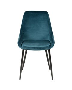 Chaise en velours bleu pieds métal BARI