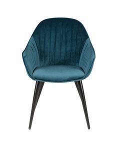 Chaise accoudoirs velours bleu et pieds métal BARI