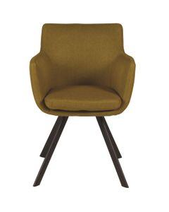 Chaise accoudoirs jaune en tissu pieds métal Carl