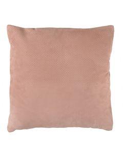 Coussin carré en cuir finition suédée rose poudré BODIE