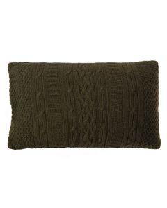 Housse de coussin verte en laine 50 x 30 cm Eden