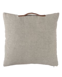 Coussin de sol coton et cuir de chèvre ivoire 50 x 50 cm Mill