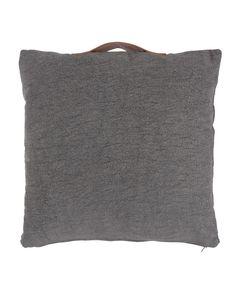 Coussin en coton et cuir de chèvre gris foncé 50 x 50 cm Mili