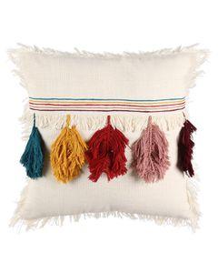Coussin en coton blanc à franges colorées Pump