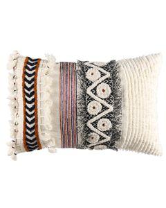 Coussin en coton blanc à motifs colorés 35 x 50 cm Soho