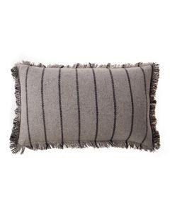 Housse de coussin grise rayée en laine 50 x 30 cm Swan