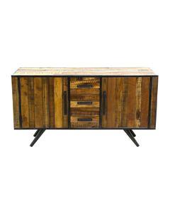 Buffet enfilade bois et métal 2 portes 3 tiroirs Cusco