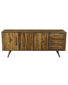 Buffet enfilade 3 portes 3 tiroirs bois et métal Cusco