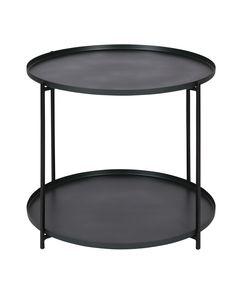 Table basse métal ronde Ø56,5 cm deux plateaux Eden