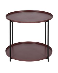 Table basse métal prune ronde Ø56,5 cm deux plateaux Eden