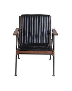 Fauteuil imitation cuir noir et métal Emile