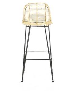 Chaise de bar en rotin et pieds épingles métal Fresh