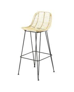 Chaise plan de travail rotin pieds métal noir h 65 cm Fresh