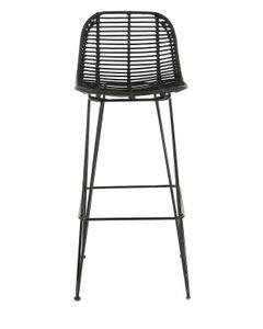 Chaise de bar en rotin noir et pieds épingles métal Fresh