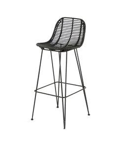 Chaise plan de travail rotin noir piètement métal noir h 65 cm Fresh