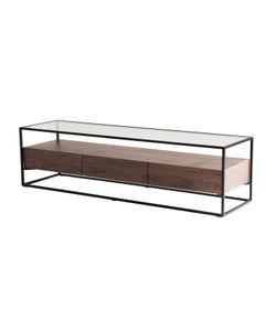 Meuble TV en métal verre et plaquage noyer 3 tiroirs 150 cm Helix