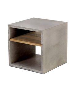 Cube béton et acacia de 40 cm gris clair 2 niches Hermitage