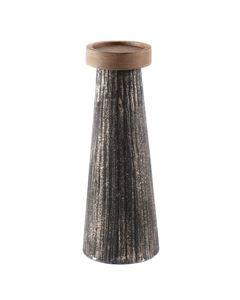 Bougeoir en bois de manguier et métal noir et or L Hilo