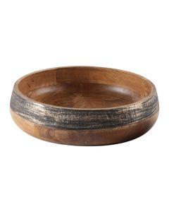 Plat décoratif rond en bois de manguier noir et or Ø 31 cm Hilo