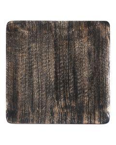 Plat décoratif carré en bois de manguier noir et or Ø 16 cm Hilo