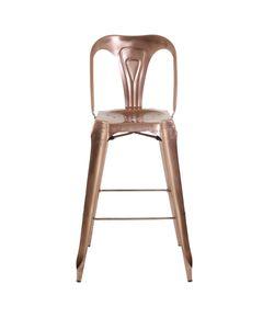 Chaise de bar industrielle en métal cuivre Indus