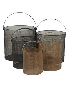 Paniers ronds en métal noir ou doré JOYA (set de 5)