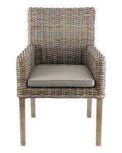 Chaise avec accoudoirs Kubu teintée clair pieds teck