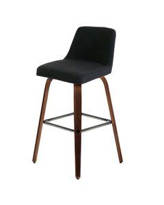 Chaise de bar tissu gris piètement plaqué noyer h 77 cm Leti