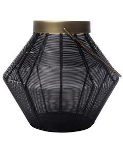 Lanterne en fer finition noire et laiton antique LILY