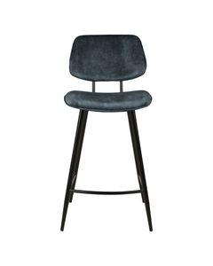Chaise plan de travail velours gris bleu piètement métal noir h68 Lizzy